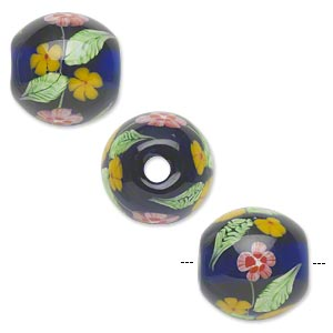 bead, lampworked glass, semitransparent cobalt blue/red/yellow/green, 20mm round with flowers. sold individually.