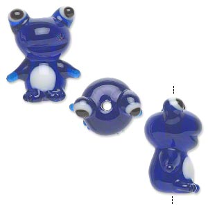 bead, lampworked glass, semitransparent dark blue and white, 24x20mm frog. sold per pkg of 2.