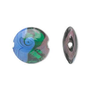 bead, lampworked glass, semitransparent green/blue/purple, 18mm double-sided puffed flat round with waves. sold per pkg of 4.