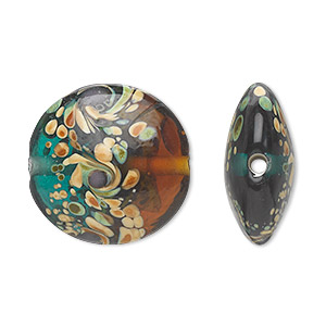 bead, lampworked glass, semitransparent green/brown/purple, 22mm double-sided puffed flat round with swirls and spots. sold per pkg of 4.