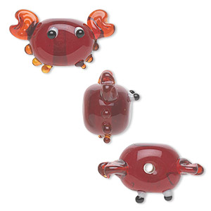 bead, lampworked glass, semitransparent red, 18x14mm crab. sold per pkg of 4.