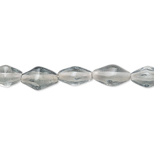 bead, lampworked glass, steel grey, 11x5mm-13x7mm 4-sided double cone. sold per 16-inch strand.
