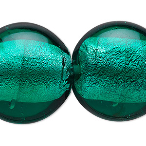 bead, lampworked glass, teal with silver-colored foil, 29x14mm puffed flat round. sold per 16-inch strand.
