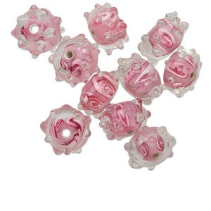 bead, lampworked glass, transparent clear and opaque pink, 16x9mm bumpy rondelle with freeform swirl design. sold per pkg of 10.