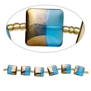 bead, lampworked glass, turquoise blue with half-gold finish, 19x19mm flat square. sold per 7-inch strand.
