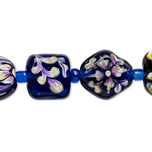bead, lampworked glass, violet-blue and multicolored, 11x11x10mm-15x15mm double-sided multi-shape with hand-painted floral design. sold per 7-inch strand.