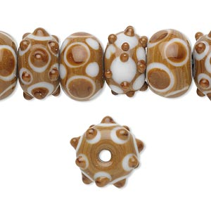 bead, lampworked glass, white and brown, 14x10mm rondelle. sold per pkg of 20.