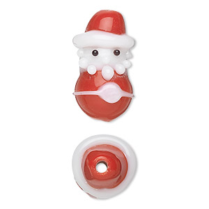 bead, lampworked glass, white and red, 23x14mm santa. sold per pkg of 2.