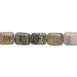 bead, landscape stone (natural), 10x8mm-11x9mm puffed rectangle, c grade, mohs hardness 3-1/2 to 4. sold per 15-inch strand.