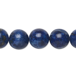 bead, lapis lazuli (dyed), 11-12mm round, c grade, mohs hardness 5 to 6. sold per 15-inch strand.