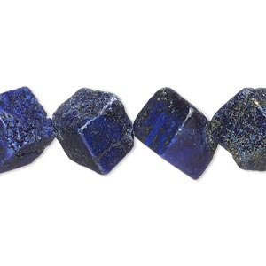 bead, lapis lazuli (dyed), 15x15mm-16x16mm diagonally drilled cube, d grade, mohs hardness 5 to 6. sold per 15-inch strand.