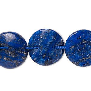 bead, lapis lazuli (dyed), 18mm twisted flat round, c- grade, mohs hardness 5 to 6. sold per 15-inch strand.