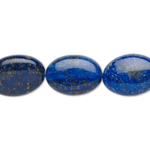 bead, lapis lazuli (dyed), 18x13mm-19x14mm puffed oval, b- grade, mohs hardness 5 to 6. sold per 15-inch strand.