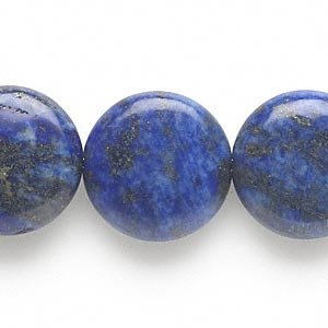 bead, lapis lazuli (dyed), 20mm puffed flat round, c grade, mohs hardness 5 to 6. sold per 15-inch strand.