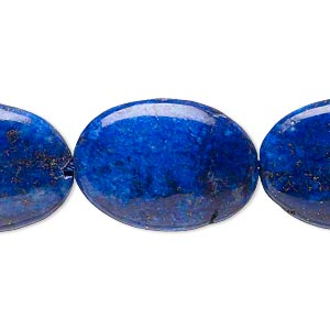 bead, lapis lazuli (dyed), 24x18mm puffed oval, c- grade, mohs hardness 5 to 6. sold per 15-inch strand.