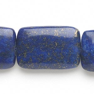 bead, lapis lazuli (dyed), 30x20mm-30x31mm rounded puffed rectangle, c grade, mohs hardness 5 to 6. sold per 15-inch strand.
