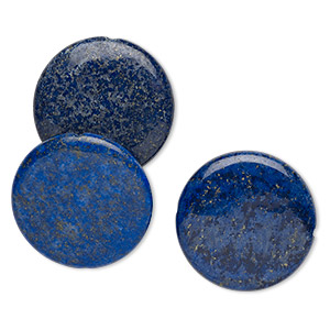 bead, lapis lazuli (dyed), 40mm flat round, b grade, mohs hardness 5 to 6. sold per pkg of 3.