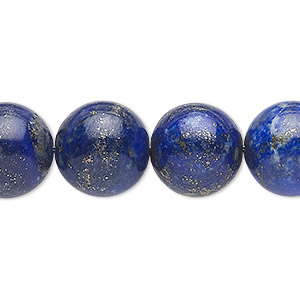 bead, lapis lazuli (natural), 14mm round, c grade, mohs hardness 5 to 6. sold per 15-inch strand.