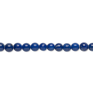 bead, lapis lazuli (natural), 4mm round, b grade, mohs hardness 5 to 6. sold per 16-inch strand.