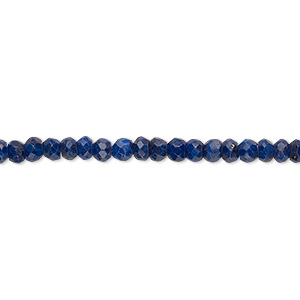 bead, lapis lazuli (natural), 4x2mm hand-cut faceted rondelle, b- grade, mohs hardness 5 to 6. sold per 16-inch strand.