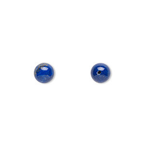 bead, lapis lazuli (natural), 6mm half-drilled round, b grade, mohs hardness 5 to 6. sold per pkg of 2.