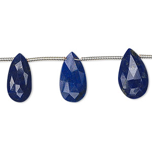 bead, lapis lazuli (natural), 9x5mm-15x9mm graduated hand-cut top-drilled faceted puffed teardrop, a- grade, mohs hardness 5 to 6. sold per 8-inch strand, approximately 10 beads.
