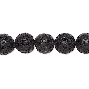 bead, lava rock (waxed), 10mm round, b grade, mohs hardness 3 to 3-1/2. sold per 16-inch strand.