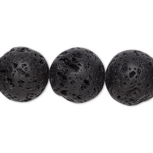 bead, lava rock (waxed), 16mm round, b grade, mohs hardness 3 to 3-1/2. sold per 16-inch strand.
