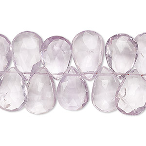 bead, lavender amethyst (natural), 13x10mm-16x11mm hand-cut top-drilled faceted puffed teardrop, b- grade, mohs hardness 7. sold per 4-inch strand.
