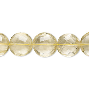 bead, lemon quartz (heated), 12-13mm hand-cut faceted puffed flat round, a- grade, mohs hardness 7. sold per 8-inch strand.