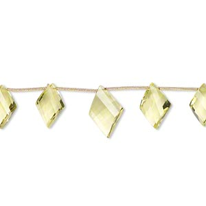 bead, lemon quartz (heated), 15x10mm-18x12mm graduated hand-cut top-drilled faceted twisted diamond, b+ grade, mohs hardness 7. sold per pkg of 5 beads.