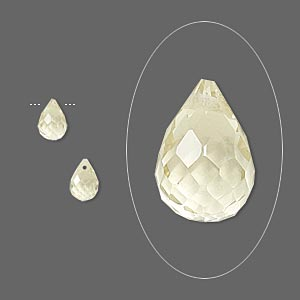 bead, lemon quartz (heated), 6x4mm hand-cut top-drilled faceted briolette, b grade, mohs hardness 7. sold per pkg of 2.