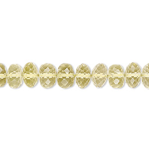 bead, lemon quartz (heated), 7x4mm-8x5mm hand-cut micro-faceted rondelle, b+ grade, mohs hardness 7. sold per 8-inch strand.