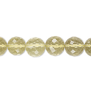 bead, lemon quartz (heated), 8-12mm graduated hand-cut faceted round, b+ grade, mohs hardness 7. sold per 8-inch strand.