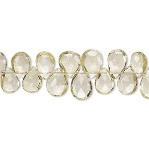 bead, lemon quartz (heated), 8x6mm-10x7mm hand-cut top-drilled faceted puffed teardrop, b+ grade, mohs hardness 7. sold per 4-inch strand.