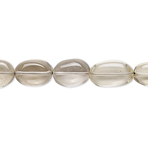 bead, lemon smoky quartz (heated / irradiated), 10x8mm-16x12mm graduated hand-cut puffed oval, c grade, mohs hardness 7. sold per 14-inch strand.