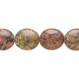 bead, leopardskin jasper (natural), 14x12mm flat oval, b grade, mohs hardness 6-1/2 to 7. sold per 16-inch strand.