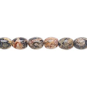 bead, leopardskin jasper (natural), 8x6mm oval, b grade, mohs hardness 6-1/2 to 7. sold per 16-inch strand.