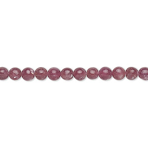 bead, lepidolite (stabilized), 4mm round with 0.5-1.5mm hole, b+ grade, mohs hardness 2-1/2 to 4. sold per 16-inch strand.