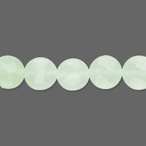 bead, light green glass faceted flat round, 10x6mm. sold per 15-inch strand.