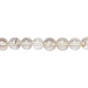 bead, lodolite (natural), 6-7mm hand-cut round, b- grade, mohs hardness 7. sold per 8-inch strand.
