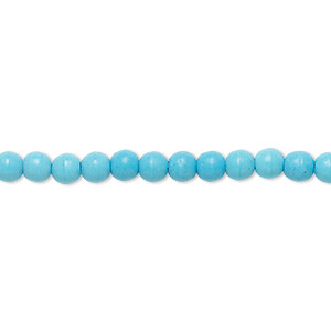 bead, magnesite (assembled), blue, 4-5mm round, c grade, mohs hardness 3-1/2 to 4. sold per 15-inch strand.