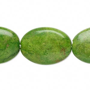 bead, magnesite (dyed / stabilized), apple green, 25x18mm flat oval, c grade, mohs hardness 3-1/2 to 4. sold per 16-inch strand.