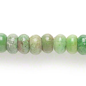bead, magnesite (dyed / stabilized), apple green, 5x2mm-5x3mm rondelle, c grade, mohs hardness 3-1/2 to 4. sold per 16-inch strand.