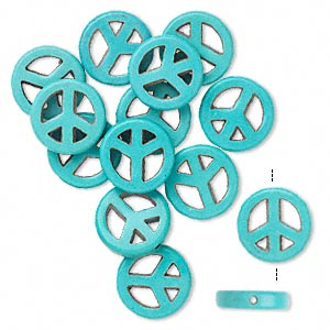 bead, magnesite (dyed / stabilized), blue, 15mm peace sign, b grade, mohs hardness 3-1/2 to 4. sold per pkg of 14.