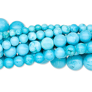 bead, magnesite (dyed / stabilized), blue, 3-8mm round, b grade, mohs hardness 3-1/2 to 4. sold per pkg of (10) 16-inch strands.