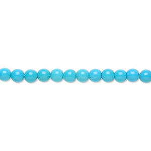 bead, magnesite (dyed / stabilized), blue, 4mm round, b grade, mohs hardness 3-1/2 to 4. sold per 16-inch strand.