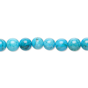 bead, magnesite (dyed / stabilized), blue, 6mm round, c grade, mohs hardness 3-1/2 to 4. sold per 16-inch strand.