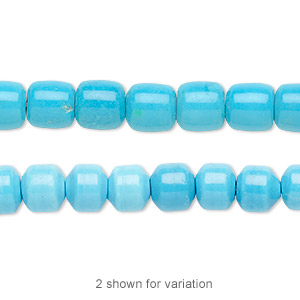 bead, magnesite (dyed / stabilized), blue, 7x7mm drum, b grade, mohs hardness 3-1/2 to 4. sold per 16-inch strand.