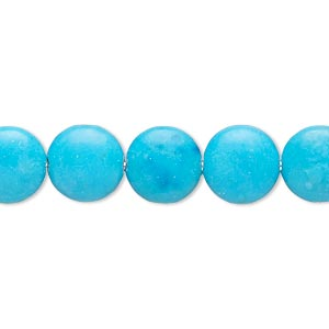 bead, magnesite (dyed / stabilized), blue, 9-10mm puffed flat round, b- grade, mohs hardness 3-1/2 to 4. sold per 15-inch strand.